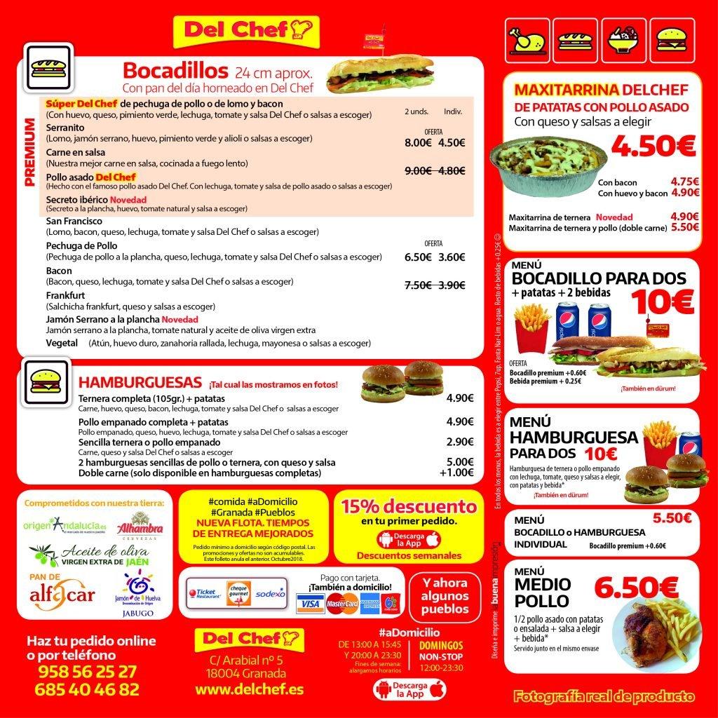 Ejemplo de carta de comida a domicilio en Granada